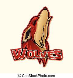 logo, wilk, barwny