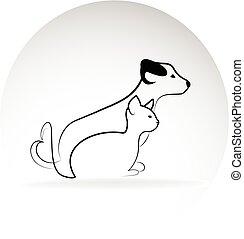 logo, wizerunek, pies, kot