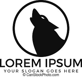 logo, wycie, wilk, design.