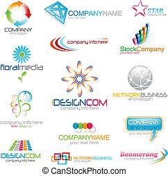 logo, zbiorowy, ikony