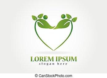 logo, zdrowie, liście, natura