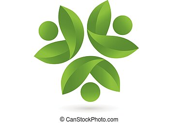 logo, zdrowie, wektor, teamwork, natura