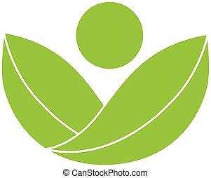logo, zdrowie, zielony, natura