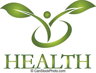 logo, zdrowy, wektor, życie