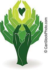 logo, zielone drzewo, siła robocza