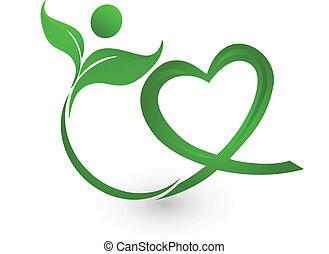 logo, zielony, ilustracja, natura