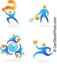 logos, 12, ludzie, abstrakcyjny, -, zbiór