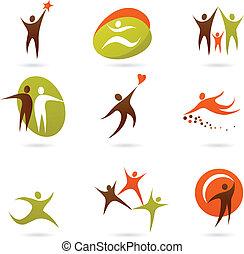 logos, 16, abstrakcyjny, ludzie, -, zbiór