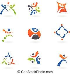 logos, 2, ludzki, ikony