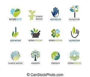 logos, alternatywa, pojęcie, chińczyk, wellness, yoga, -, wektor, ikony, medycyna, rozmyślanie, zen