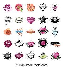 logos, fason, piękno, zbiór, wektor, najpoważniejszy