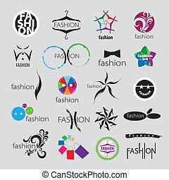 logos, fason, przybory, zbiór, wektor, odzież
