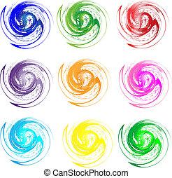 logos, komplet, grunge, swirly, kolor