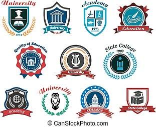 logos, komplet, uniwersytet, akademia, emblematy, kolegium, albo