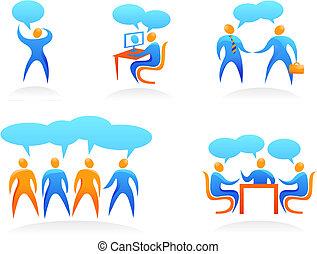logos, ludzie, abstrakcyjny, -, zbiór, 4
