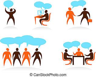 logos, ludzie, abstrakcyjny, -, zbiór, 5