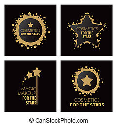 logos, magia, makijaż, zbiór, wektor, gwiazdy