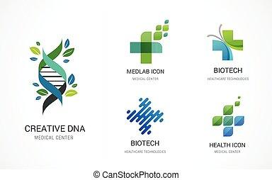 logos, medyczny, -, ikony, farmaceutyczny, apteka, wektor, healthcare, pień