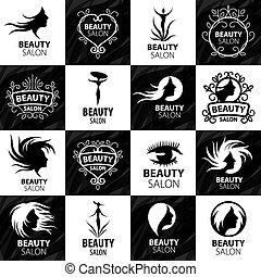 logos, salon, komplet, piękno, wielki, wektor