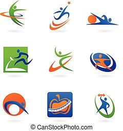 logos, stosowność, barwny, ikony