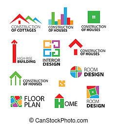 logos, wektor, naprawa, zbiór, domy, zbudowanie