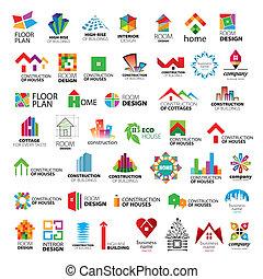 logos, wektor, zbiór, ulepszenie, zbudowanie, dom