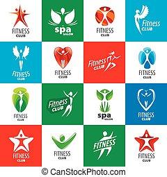 logos, zbiór, kluby, wektor, stosowność, najpoważniejszy