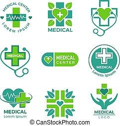 logotypes., albo, medyczny, krzyż, apteka, symbolika, klinika, wektor, projektować, szablon, medycyna, plus, zdrowie, szpital, troska