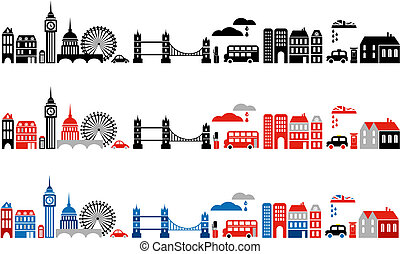 londyn, ilustracja, miasto, wektor