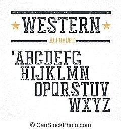 looks., letters., grunge, retro, serif, ostemplowany, alphabet., styl, rocznik wina, western