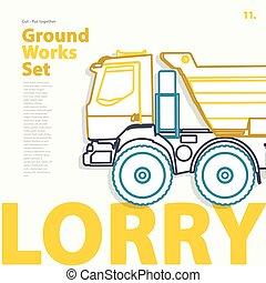 lorry., komplet, szkic, konturowany, typografia, mechanizm zbudowania, vehicle., truck.