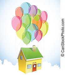 losy, dom, wektor, balloons., barwny