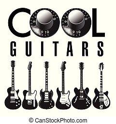 losy, gitara, graficzny, guitars., chłodny