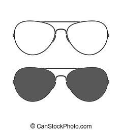 lotnik, sunglasses, ikona