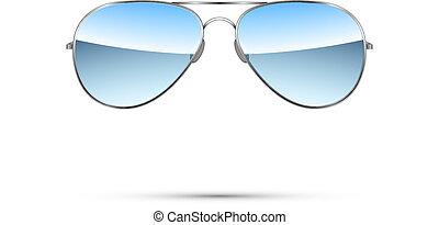 lotnik, wektor, sunglasses, odizolowany, white.