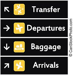 lotnisko, wektor, znaki