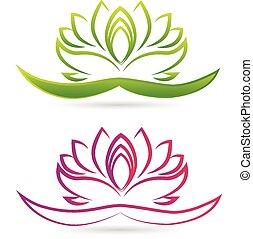 lotos, logo, kwiat, wektor