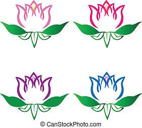 lotos, logo, kwiaty, komplet, wektor
