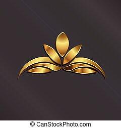 lotos, logo, roślina, luksus, złoty