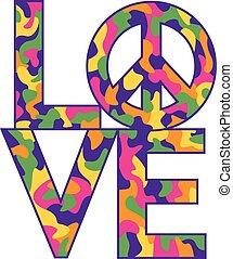 love=peace, kolor, camo, retro