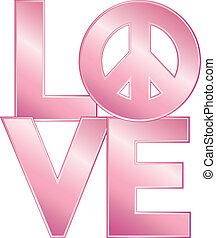 love=peace, różowy