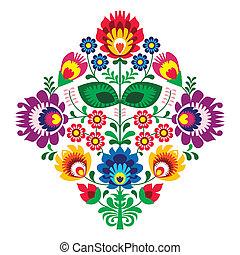 lud, kwiaty, haft, patern