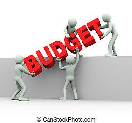 ludzie, -, 3d, budżet, pojęcie