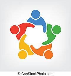 ludzie, 5, grupa, logo, drużyna