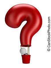 ludzie, -, balloon, pytanie, mały, 3d