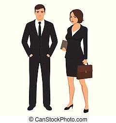 ludzie, biznesmen, człowiek, litery, kobieta, businesswoman., handlowy, reputacja