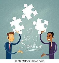 ludzie, biznesmen, handlowy, zagadka, dwa, rozłączenie, rozwiązać
