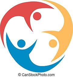 ludzie, circle., zjednoczony, trzy, dookoła, grupa, przelotny, pojęcie