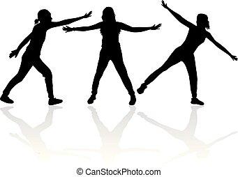 ludzie., czarnoskóry, silhouettes., grupa