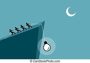 ludzie, do góry, idea, na dół, ciągnący, rope., używając, spadanie, urwisko